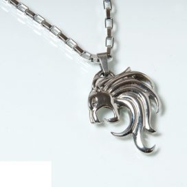 Lion head -steel pendant