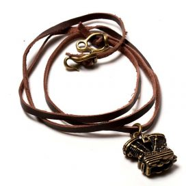 Bronze v-twin-engine necklace