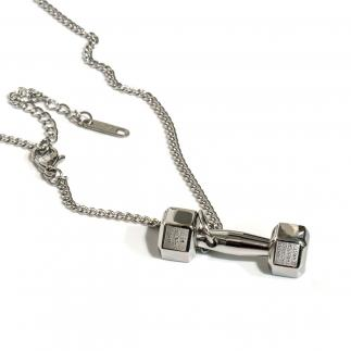 Steel Dumbbell Necklace.